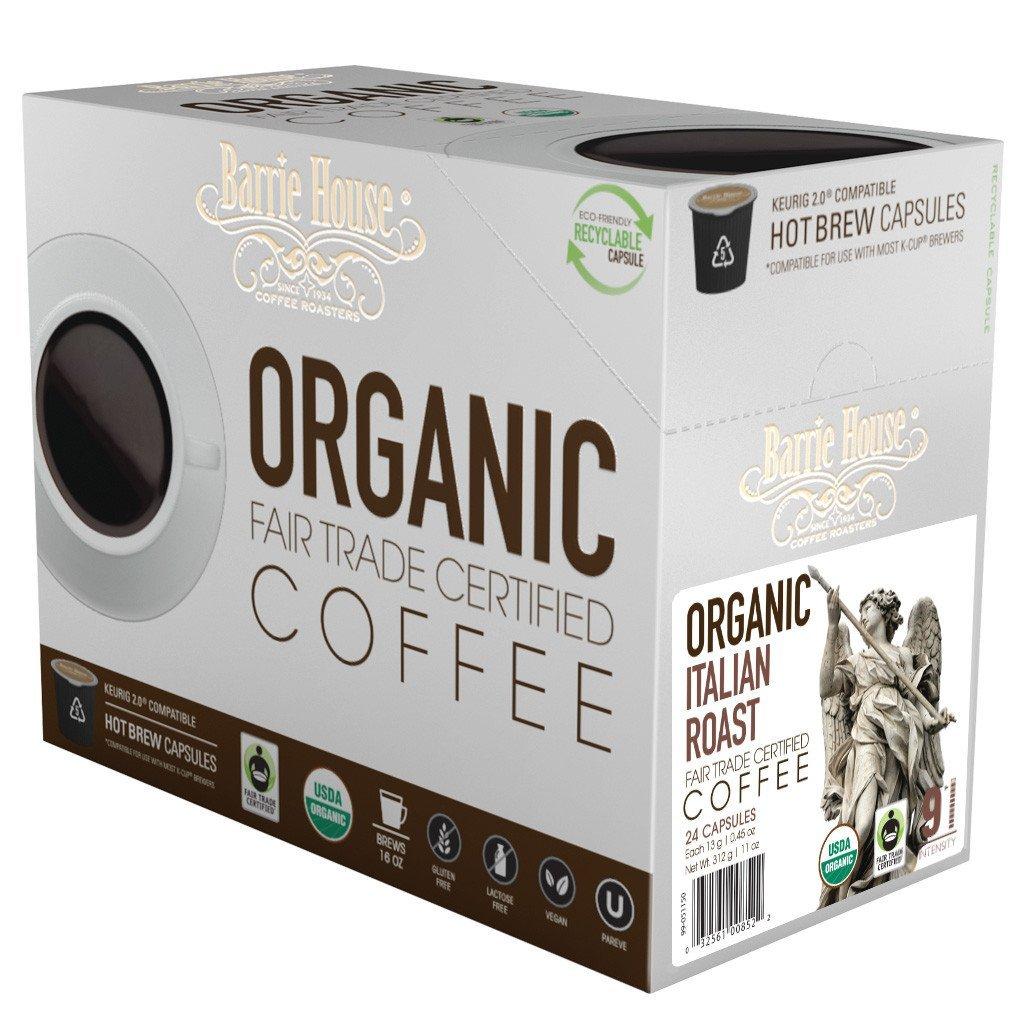 Barrie House Fair Trade Organic Italian Roast Single Serve Coffee Cups (24 Pack)