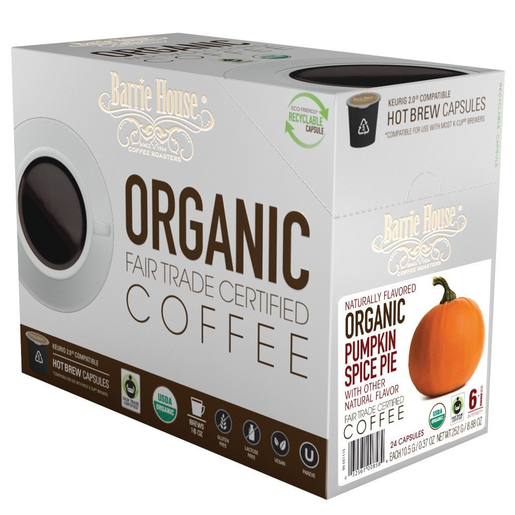 Barrie House Fair Trade Organic Pumpkin Spice Pie Single Serve Coffee Cups (24 Pack)
