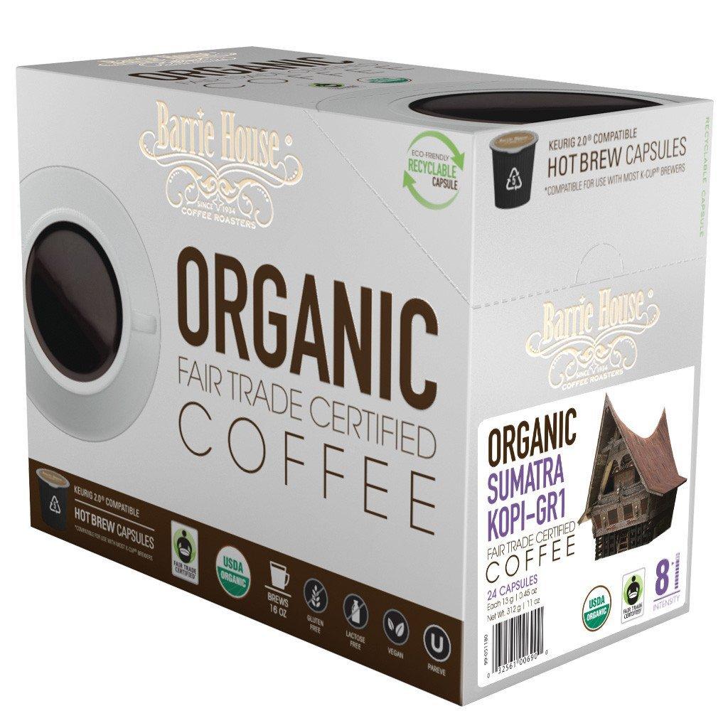 Barrie House Fair Trade Organic Sumatra Kopi Single Serve Coffee Cups (24 Pack)