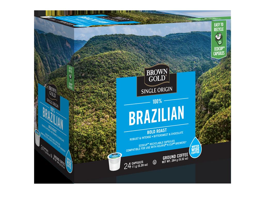 Brown Gold 100% Brazilian Bold Roast Single Serve Coffee (24 Pack)