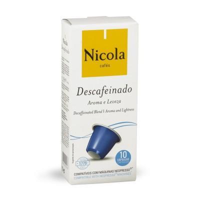 Nicola Cafés Descafeinado Nespresso Compatible Capsules, 10 Pack