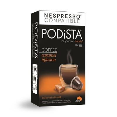 PODiSTA® Caramel Infusion Coffee Nespresso Compatible Capsules, 10 Pack